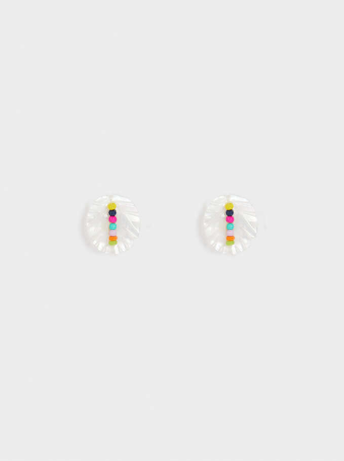 Small Seashell Earrings, Multicolor, hi-res