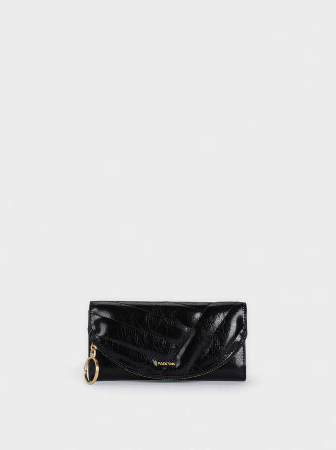 Quilted Wallet, Black, hi-res