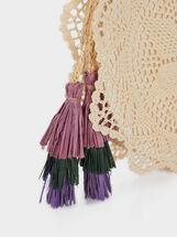 Crochet Crossbody Bag With Tassels, Beige, hi-res