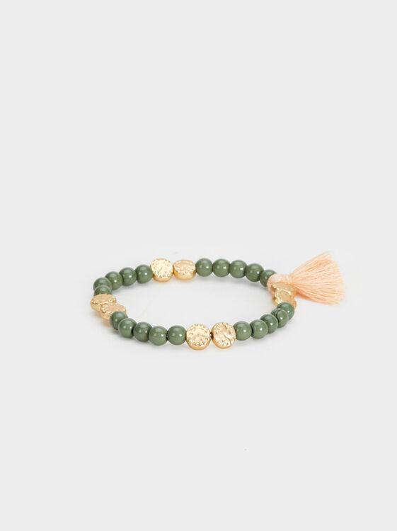 Stone Story Elastic Bracelet With Beading, , hi-res