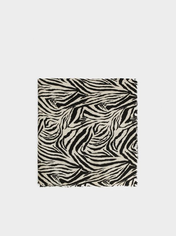 Animal Print Pocket Square, Black, hi-res