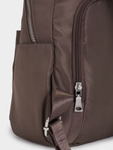 Nylon Backpack With Outer Pockets, Brown, hi-res
