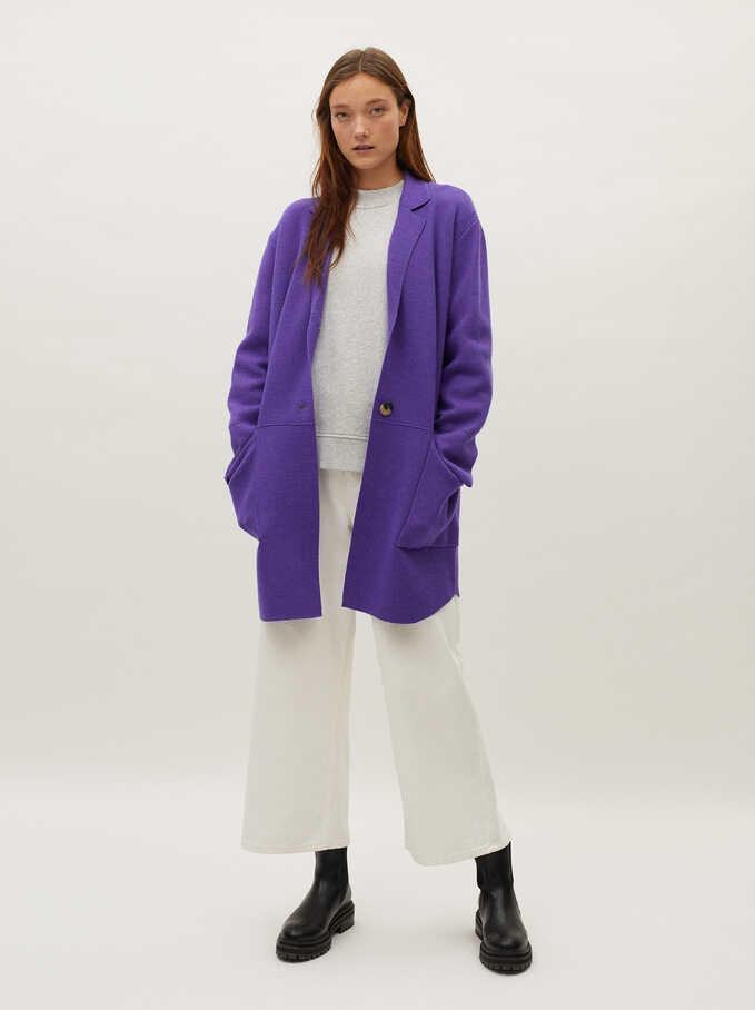 Button-Up Knit Coat, Violet, hi-res