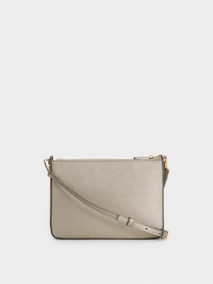 Plain Crossbody Bag, Silver, hi-res