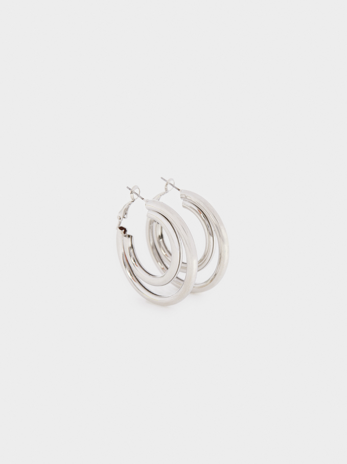 Hoop Fever Large Hoop Earrings, Silver, hi-res