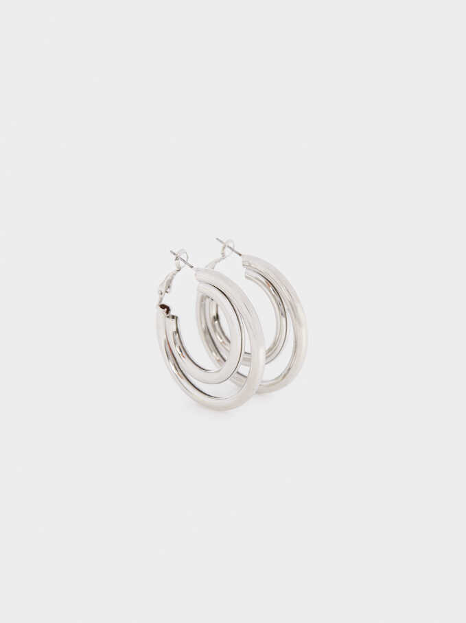 Large Gold-Toned Hoop Earrings, Silver, hi-res