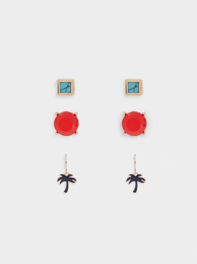 Palm Tree Earring Set, Golden, hi-res