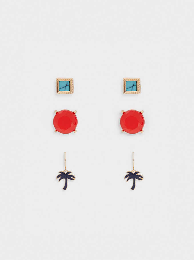 Palm Tree Earring Set, Golden, hi-res