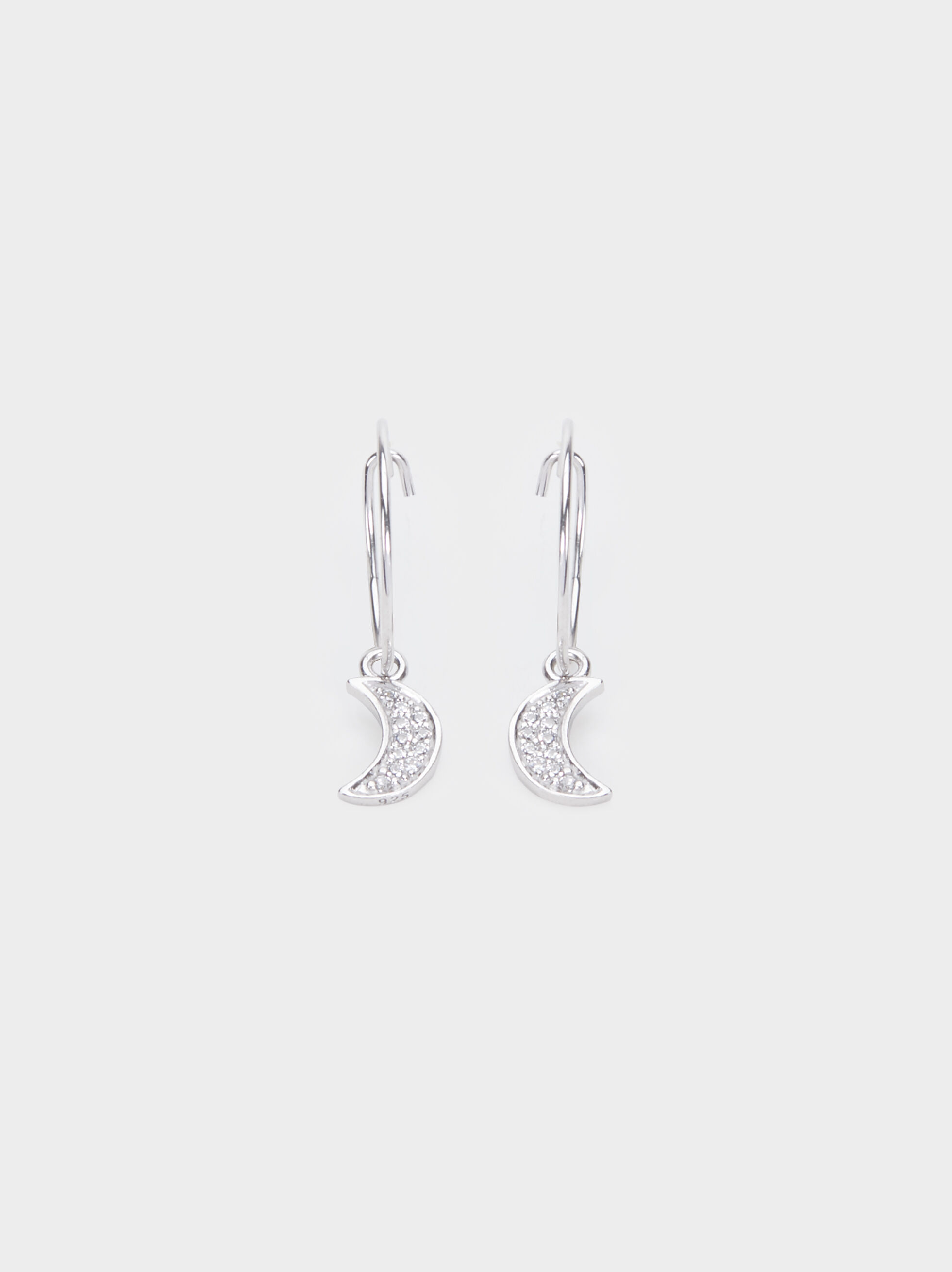 Small Silver 925 Moon Hoop Earrings, Silver, hi-res