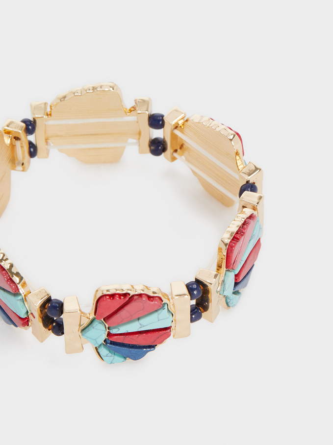 Gold Elastic Bracelet , Multicolor, hi-res
