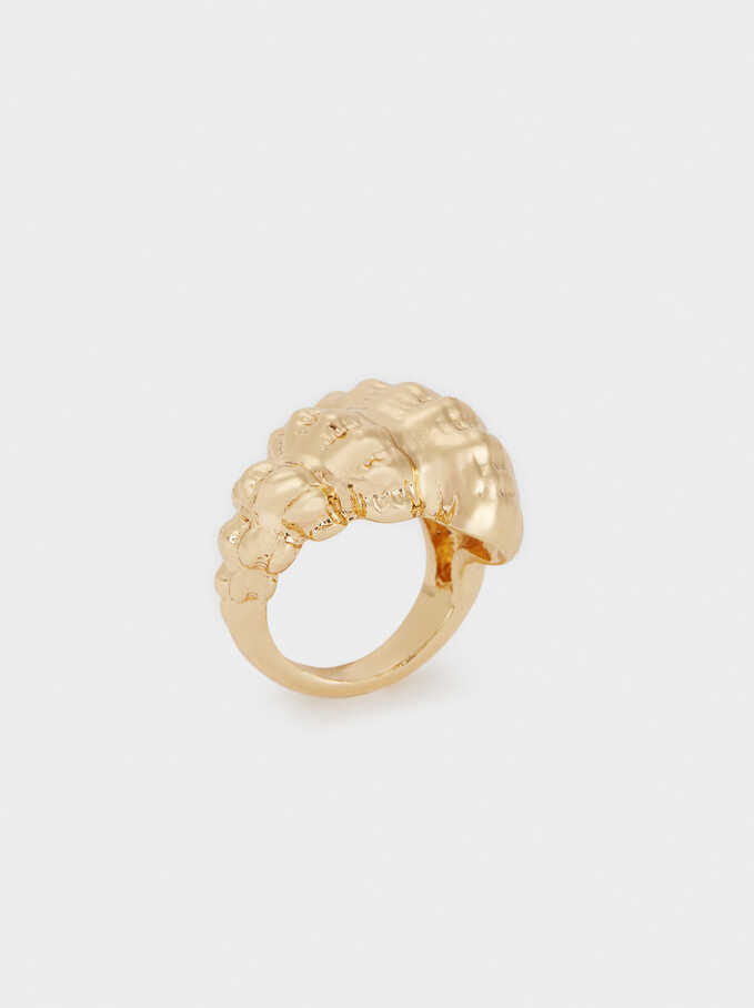 Gold-Toned Shell Ring, Golden, hi-res