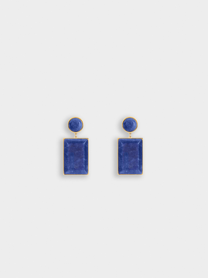 Steel Earrings With Stones, Multicolor, hi-res