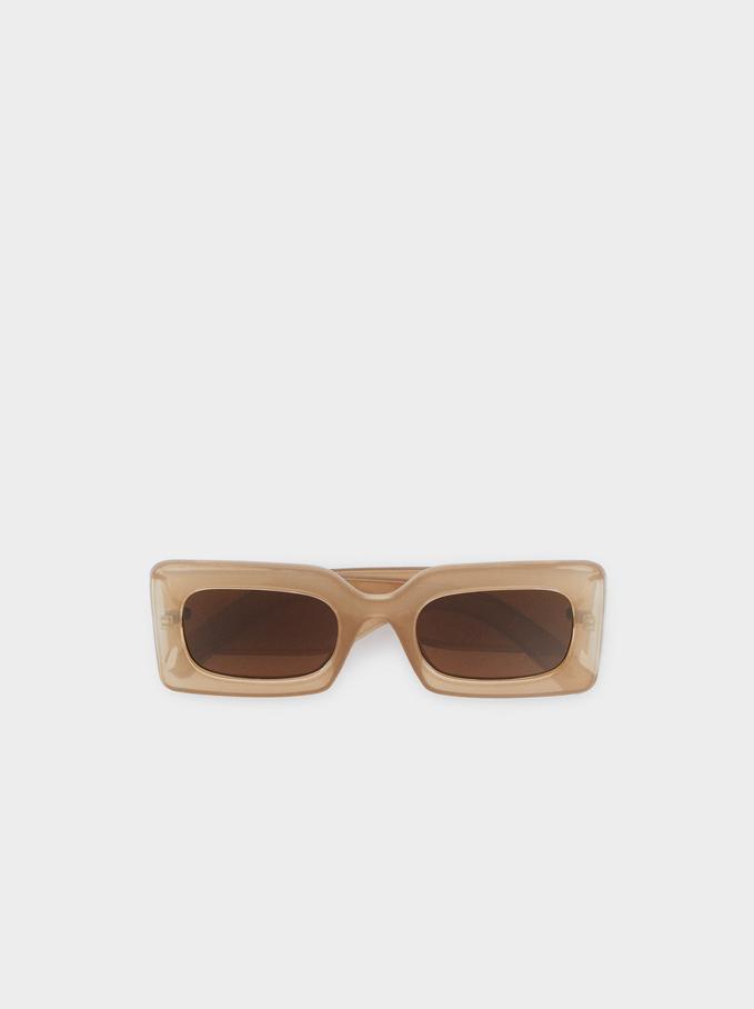 Okulary Przeciwsloneczne W Kwadratowej Oprawce, Rózowy, hi-res