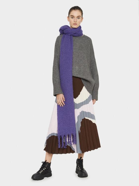 Printed Pleated Skirt, Grey, hi-res