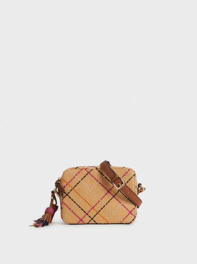 Check Faux Raffia Crossbody Bag, Beige, hi-res