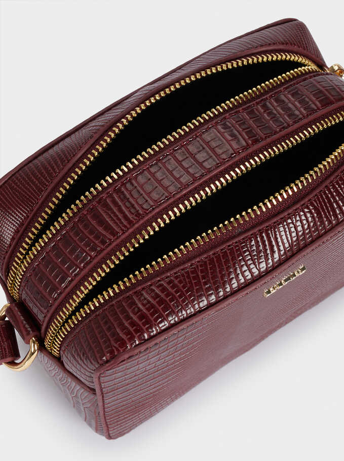 Crossbody Bag With Embossed Animal Print, Bordeaux, hi-res