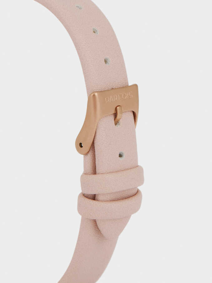 Watch With Leather Texture Strap, Pink, hi-res