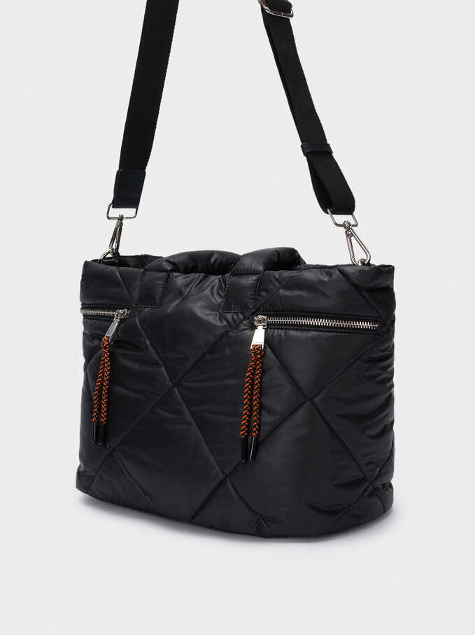 Quilted Nylon Tote Bag, Black, hi-res