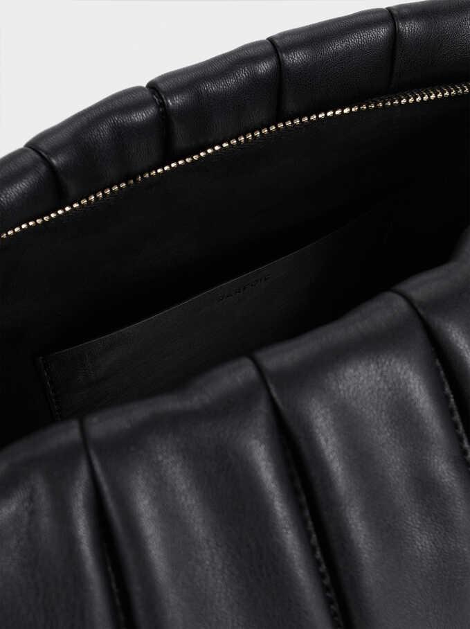Quilted Shoulder Bag With Detachable Shoulder Strap, Black, hi-res