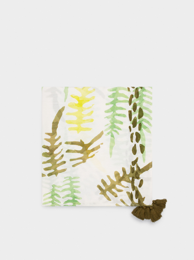 Leaf Print Scarf, Green, hi-res