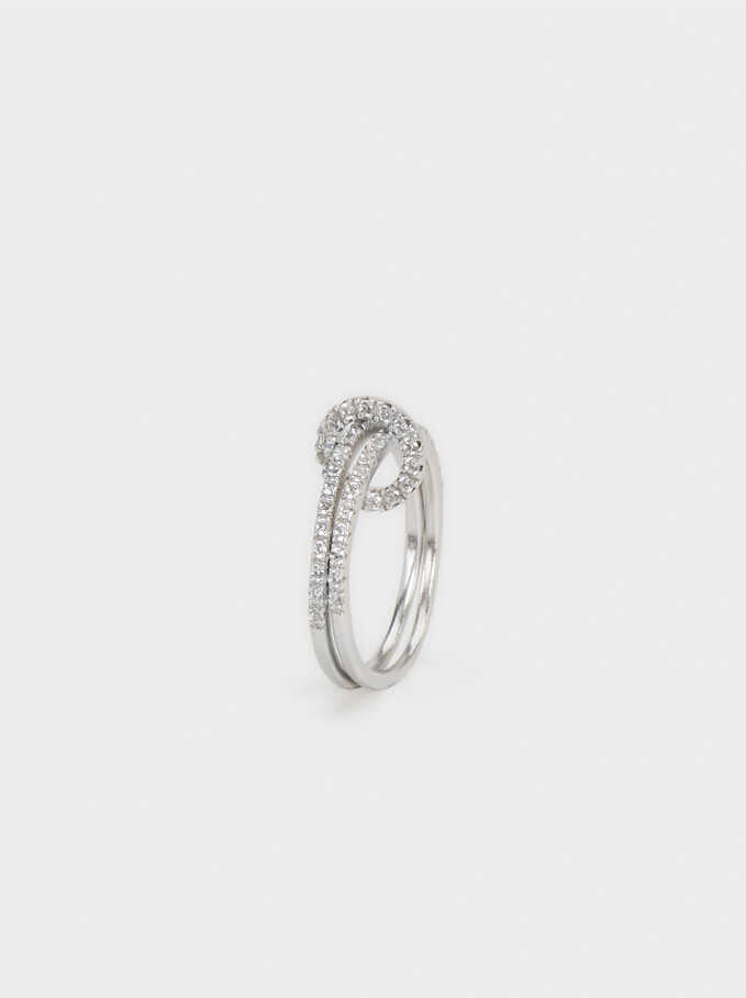 Silver 925 Ring With Rhinestones, Silver, hi-res