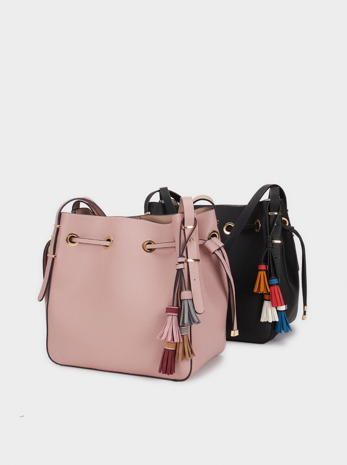 Handbag With Tassels, Pink, hi-res