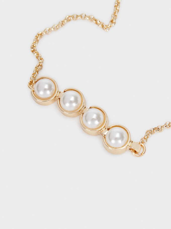 Adjustable Gold Bracelet With Bead Detail, Golden, hi-res