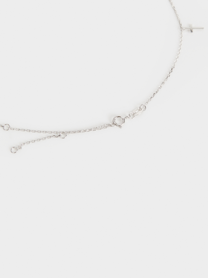 Short 925 Silver Cross Necklace, Silver, hi-res