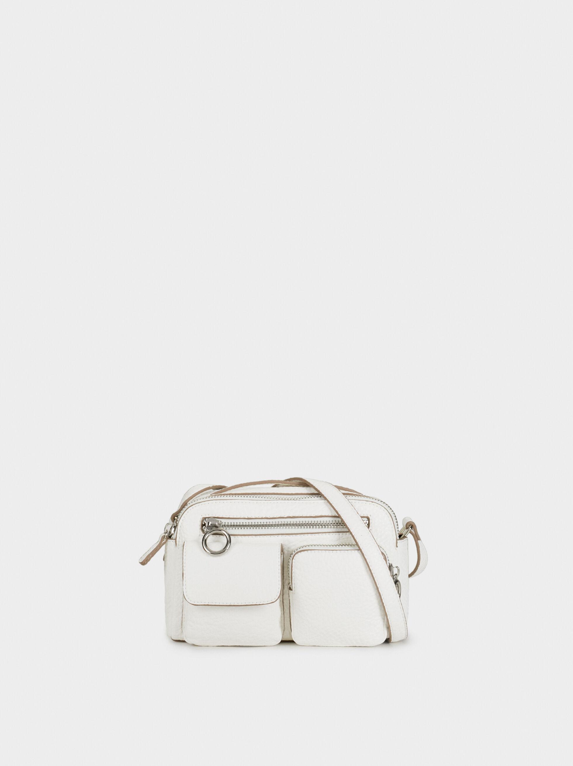 Crossbody Bag With Exterior Pockets, White, hi-res