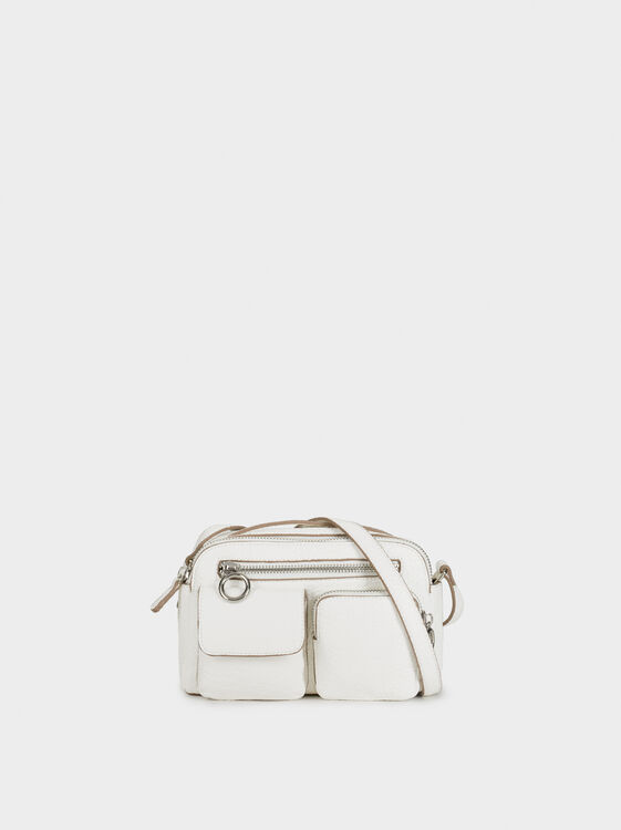 Crossbody Bag With Exterior Pockets, White, hi-res