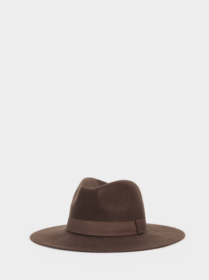Hat With Matching Band, Brown, hi-res