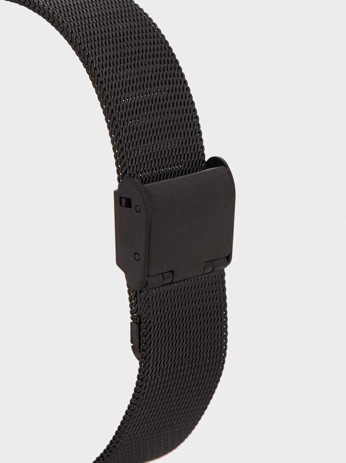 Watch With Stainless Steel Metallic Mesh Strap, Black, hi-res