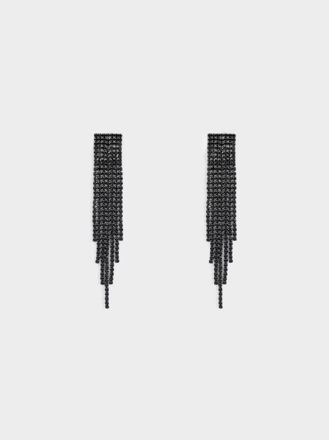 Star Dust Long Earrings With Fringe, Black, hi-res