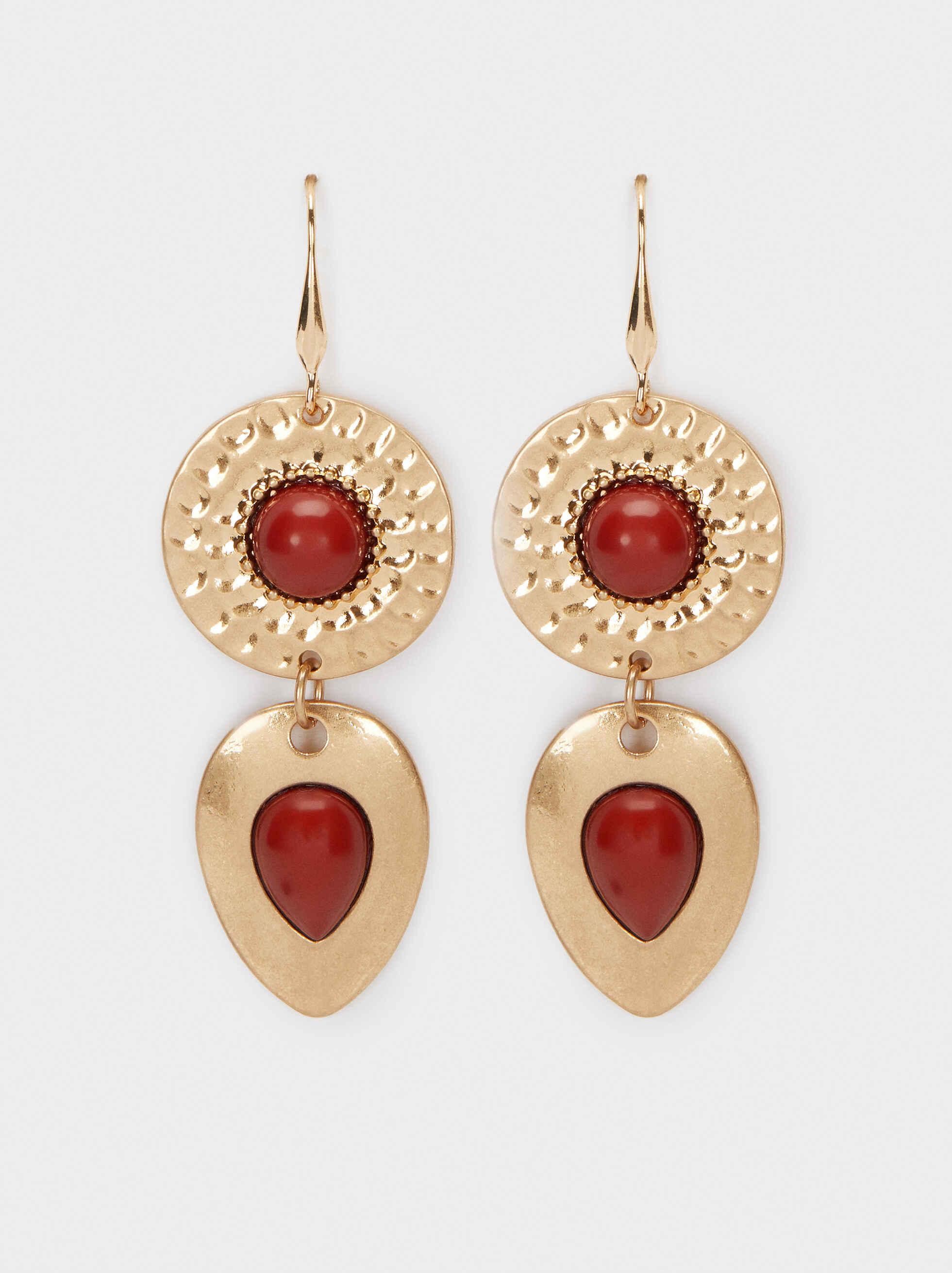 Long Gold Earrings, Bordeaux, hi-res