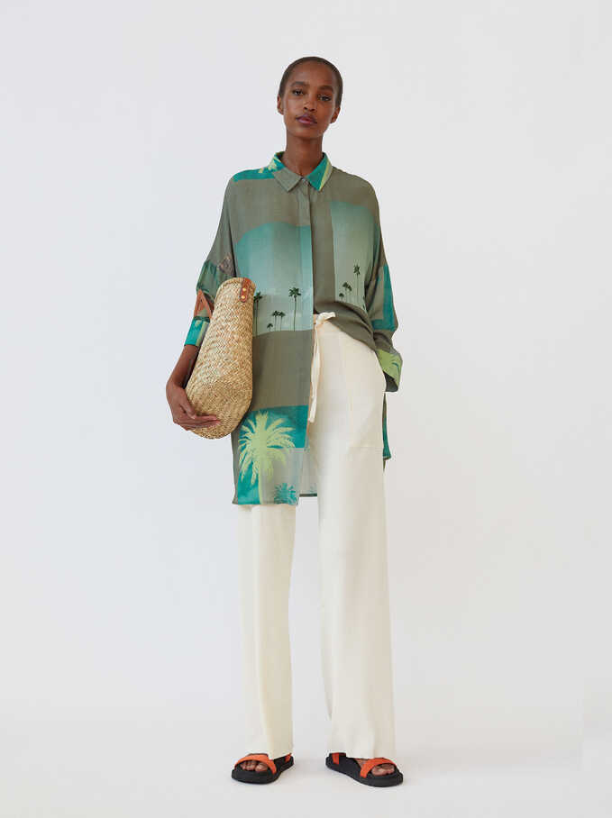 Printed Shirt Dress, Green, hi-res