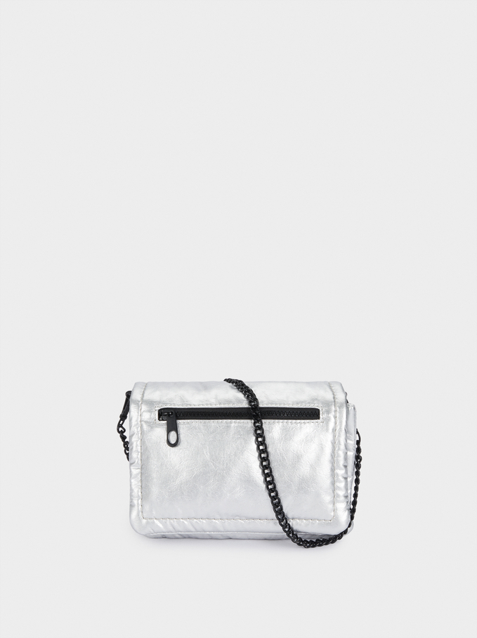Metallic Quilted Crossbody Bag, Silver, hi-res
