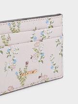 Porta Carte Stampa Floreale, Rosa, hi-res
