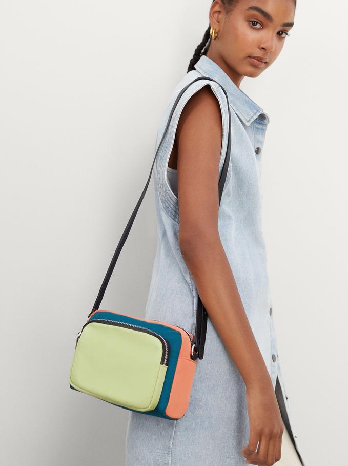 Nylon Crossbody Bag With Outer Pocket, Orange, hi-res