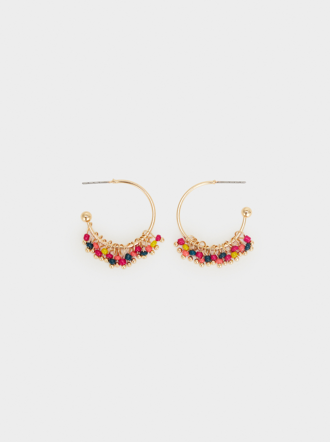 Wild Color Small Hoop Earrings, Multicolor, hi-res