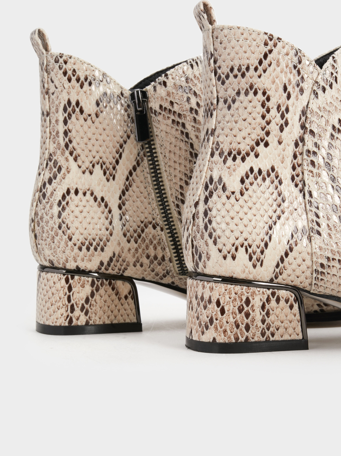 Faux Snakeskin Ankle Boots, White, hi-res