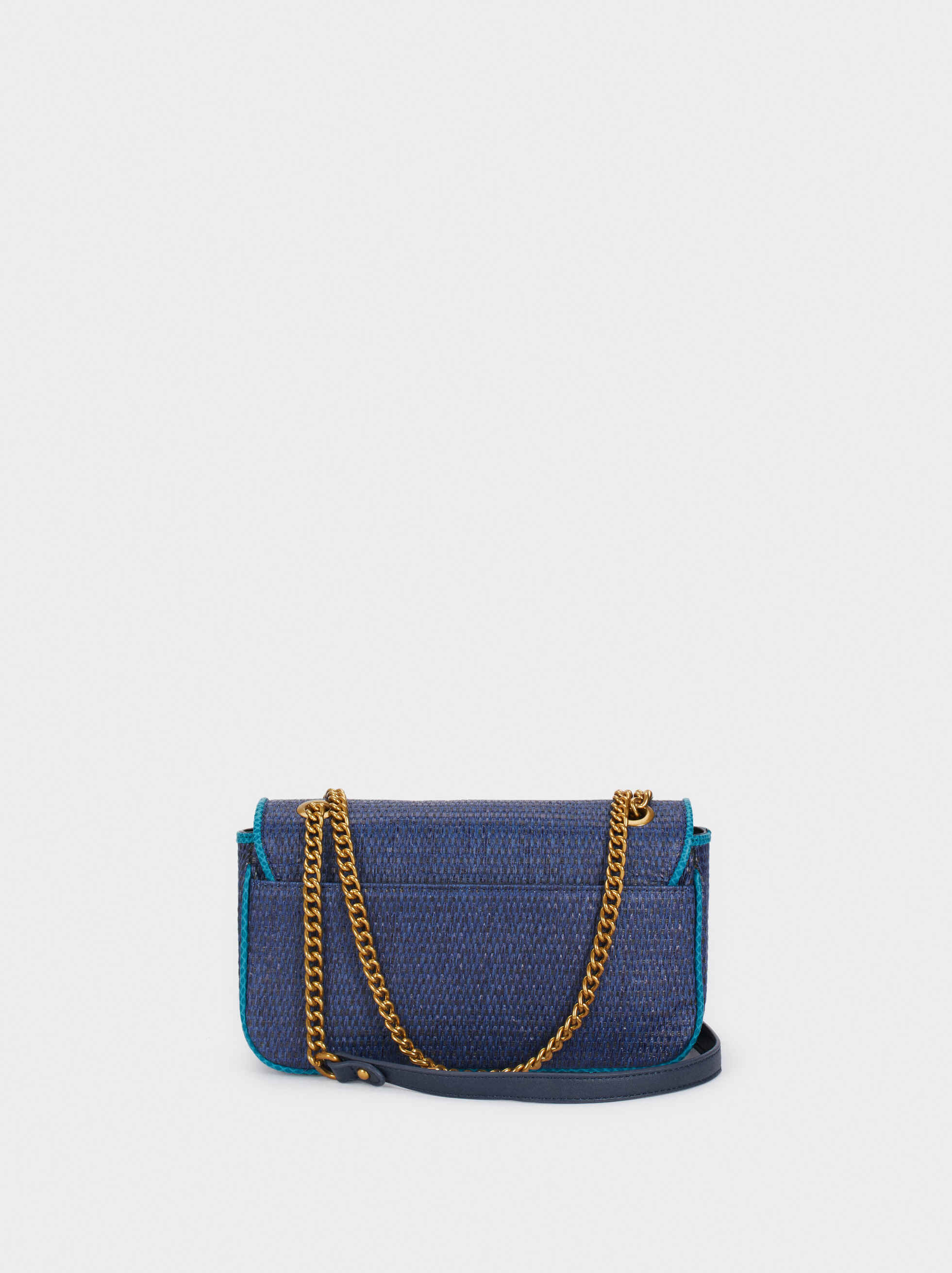 Textured Raffia Crossbody Bag With Fringing, Blue, hi-res