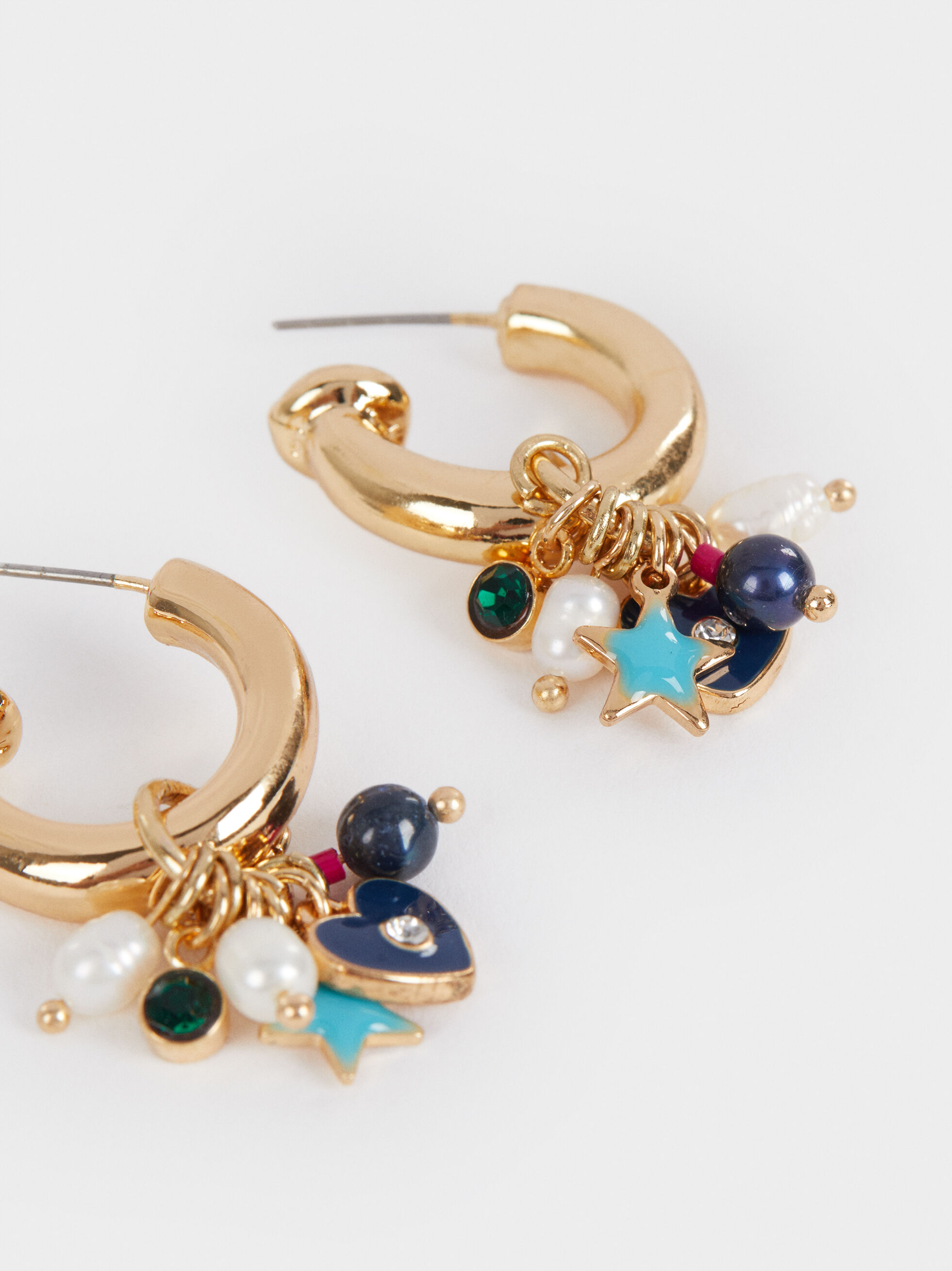 Small Golden Faux Pearl Hoop Earrings, Multicolor, hi-res