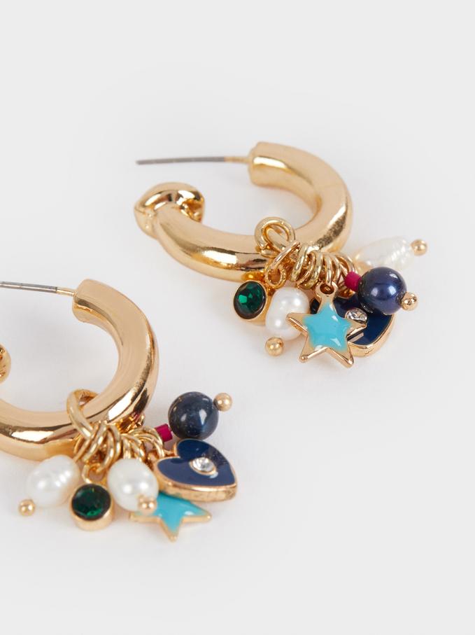 Small Golden Faux Pearl Hoop Earrings, Multicolor, hi-res