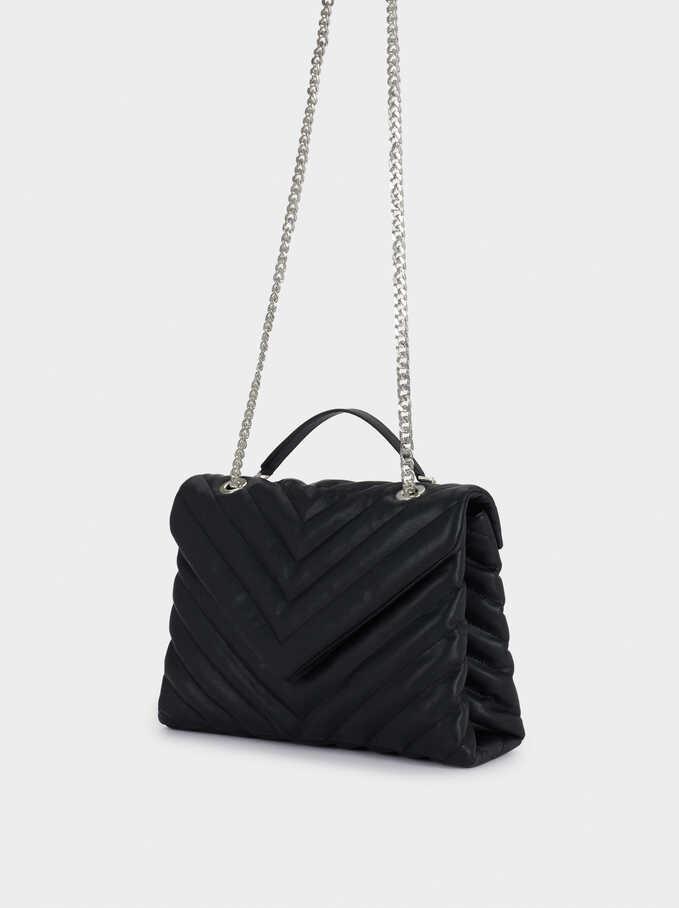 Quilted Crossbody Bag, Black, hi-res