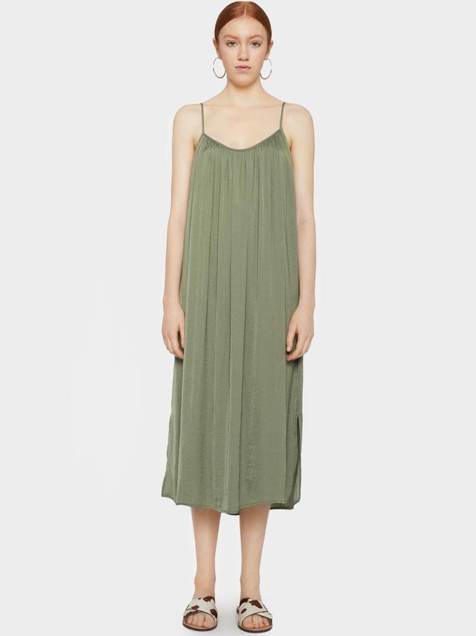 Plain Strappy Dress, Khaki, hi-res