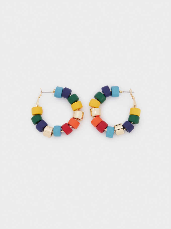 Beaded Hoop Earrings, Golden, hi-res