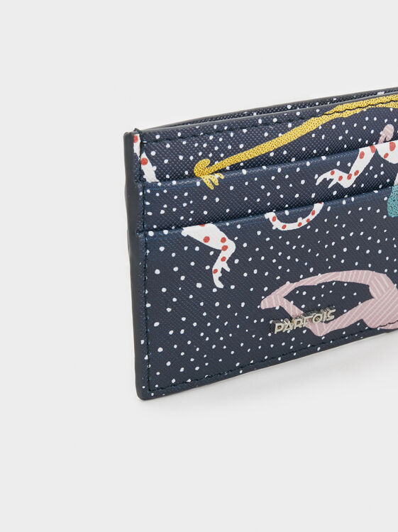 Monkey Print Card Holder, Navy, hi-res