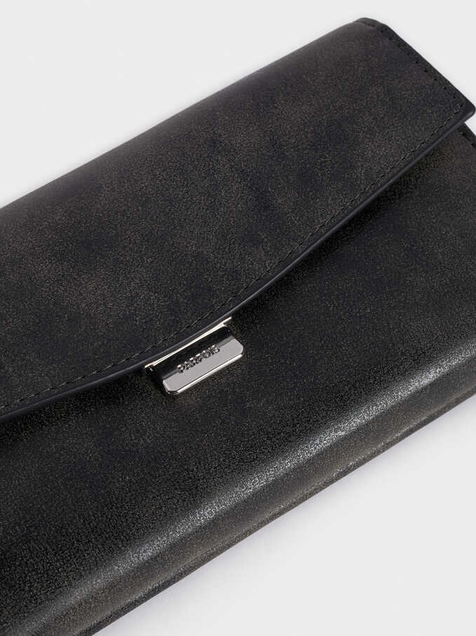 Long Purse With Front Flap Fastening, Black, hi-res