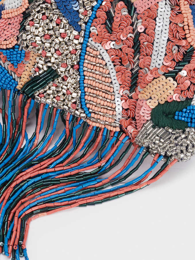 Beaded Party Clutch With Fringe, Blue, hi-res