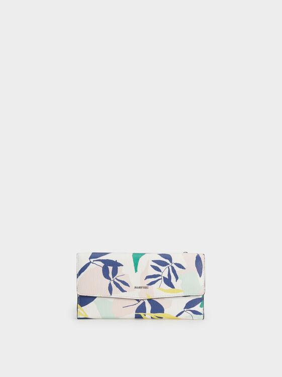 Large Floral Print Purse, Green, hi-res